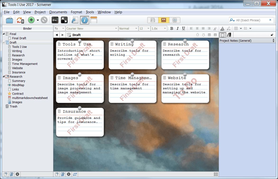 Scrivener screen cap